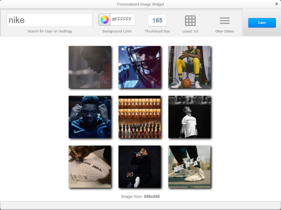 Example of Instagram widget.